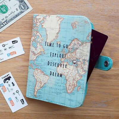 Vintage Time To Go World Map Uk Passport Cover Holder - Travel Notebook