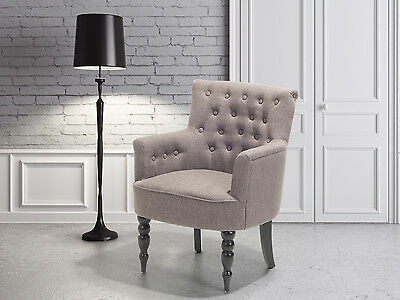 Armchair, living room chair, classic, buttons,one seater, upholstery, grey brown