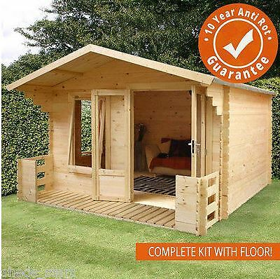 3.5m x 3.3m Studio Plus Garden Log Cabin with Double Door - Office, Studio