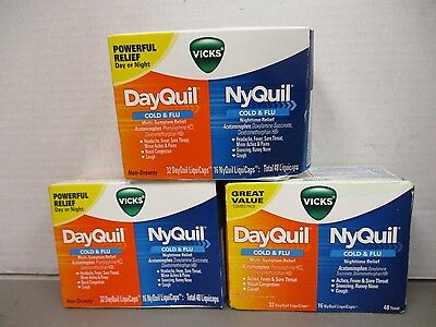 3 Vicks NyQuil DayQuil Combo Pack 48 ea-144 Total LiquiCaps Exp 2/17+ DE 7529