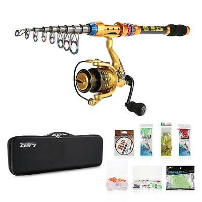 NEW Portable Fishing Rod Set Spinning Rod+Fishing Reel+Line+Lure+Hooks+Bag W3P8