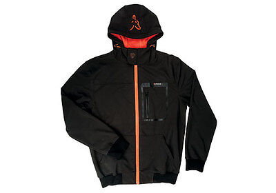 Fox NEW Black And Orange Carp Fishing Softshell Jacket Hoodie Hoody *All Sizes*
