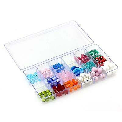 Large Transparent 18 Compartment Bead Storage Box 210mm Pack of 1 (D60)