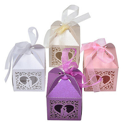 10/50/100X Love Heart Favor Ribbon Gift Box Candy Boxes Wedding Party Decor ESUS