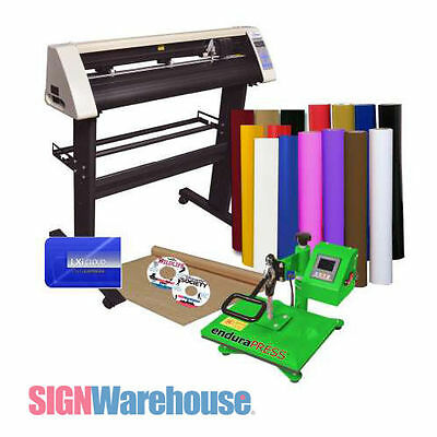 Vinyl Cutter Plotter & Heat Press & Software Sign / T-Shirt / Apparel Business
