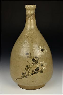 17th Century Korean Pottery Bottle Vase w/ Painted Flowers