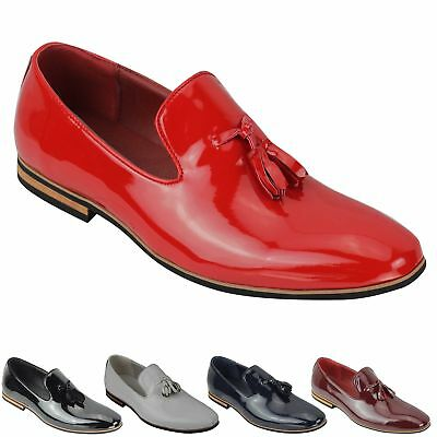 Mens Tassel Loafers Shiny Patent Leather Line Slip on Smart Casual Driving Shoes