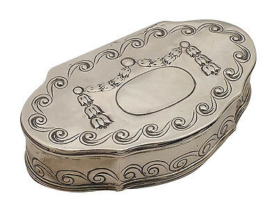 Beautiful Continental Silver Snuff Box w/ Mother of Pearl