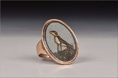 18th Century Rome / Italian Rose Gold Ring w/ Micro Mosaic Dog Plaque