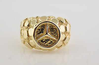NEW Solid 10K Yellow Gold Mercedes Benz Logo Ring Size 8 FREE SIZING