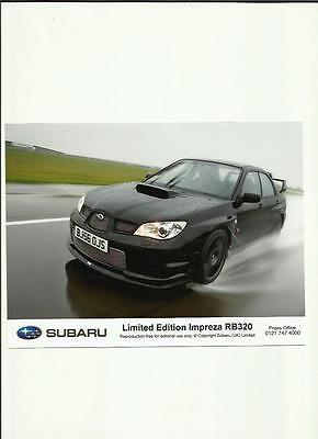 "SUBARU  LIMITED EDITION IMPREZA RB320 ORIGINAL PRESS PHOTO "" Brochure """