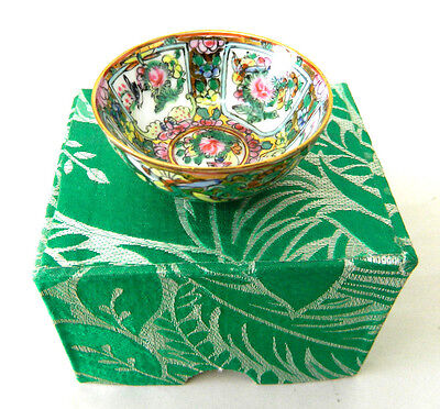 Miniature Chinese Hand Painted Bowl Floral Print Gold Trim Tiny Small Stamped