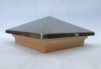 NEW Premium 6x6 post cap, metal or cedar top, cedar trim, stainless, pewter