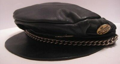 Classic Old Leather Motorcycle Chain Cap w 4 Nasty Pins 1970s Size 6  7/8 to 7