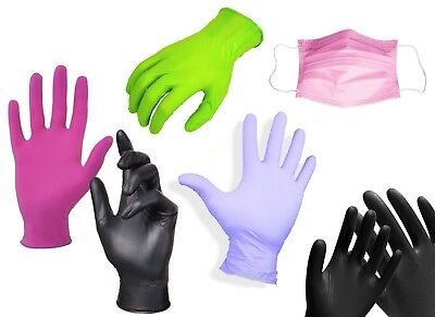 GLOVES Disposable Nitrile Powder Latex Free Pink Black 100 pcs Mask XS-XL UK