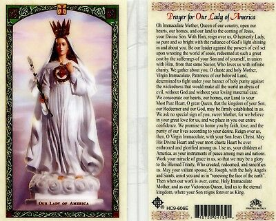 Prayer for Our Lady of America Queen of Our Country Laminated Holy Card HC9-606E