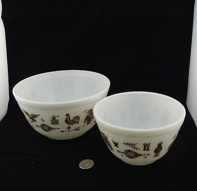 "2 Vintage Pyrex Mixing Bowls American Eagle Rooster Coffee   5 3/4"" And 7 1/4"""