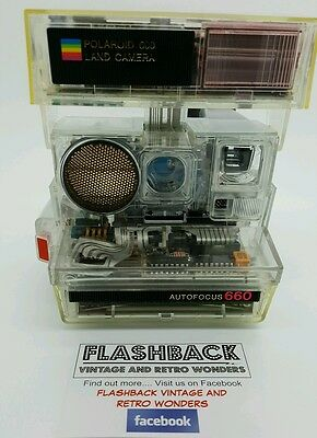 Polaroid 660 Autofocus Transparent Clear Rare Instant Camera. Display Piece.