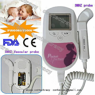 Pocket Fetal Doppler w 8M vascular probe,3M Probe,LCD backlight,Gel,1 warranty