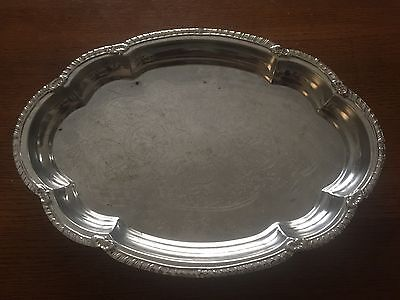 VINTAGE SILVER OVAL METAL SERVING TRAY 34 X 24cm