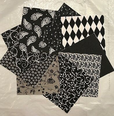 Shades Of BLACK & White & Grey Quilt Fabric Quilting Squares Charm Pack Blocks