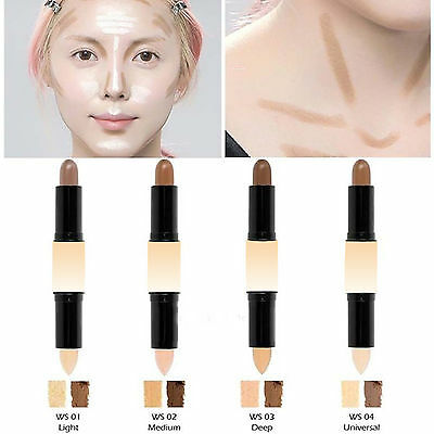 Double-ended Highlighter Bronzer Stick Cream Powder Contour Face Makeup Cosmetic