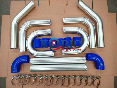 """2.5"""" Alliage tuyaux TURBO INTER REFROIDISSEUR cooler Piping + Blue Couplers"""