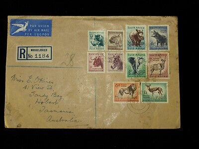 1954 Flight Cover South Africa to Hobart Australia, 10 Animals of Africa Stamps