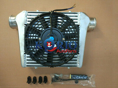 """280x300x76mm Alliage TURBO INTER REFROIDISSEUR cooler Turbo + 10"""" Electric Fan"""