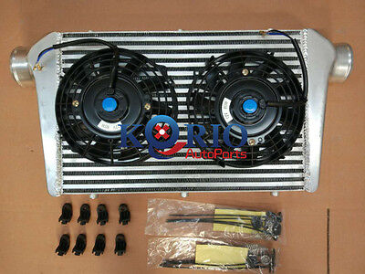 """600x300x76mm Alliage TURBO INTER REFROIDISSEUR cooler Turbo + 7"""" Electric Fans"""