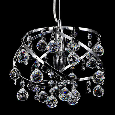 Crystal Pendant Lamp Ceiling Light Electroplate Chrome Iron Metal+Crystal