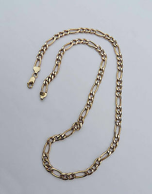 Mens Large Figaro Style Link Chain Necklace - 14k Yellow Gold - 20.5 Inches