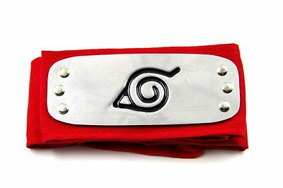Naruto Anime Ninja Cosplay Forehead Protector Headband: Leaf Village (Red)