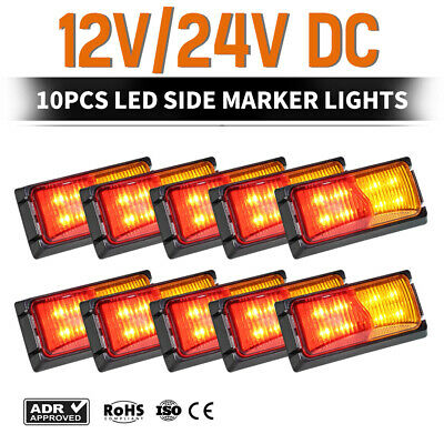 10x LED Side Marker Lights RED AMBER Trailer Truck Clearance Light 12V 24V