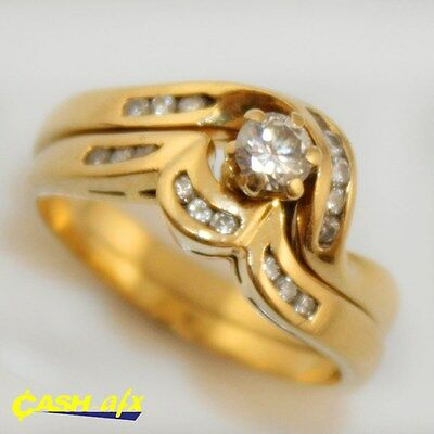 18ct Yellow Gold Ring Set with 0.40 Carats of Diamonds Size M 1/4 + M 1/2