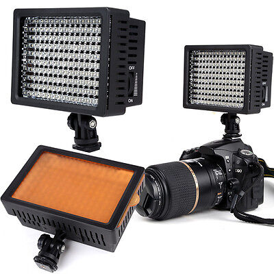 160 LED Video Light Lamp Panel Dimmable for Canon Nikon DSLR Camera Camcorder UK