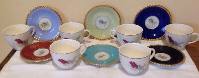 Six Coffee Cups With Saucers Germany-Maria Theresa Rw