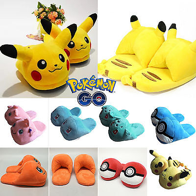Men Womens Pokemon Cartoon Soft Plush Slippers Warm Hat Home Shoes Xmas Costume