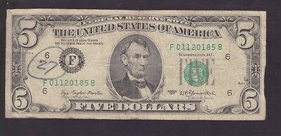 1977 Five Dollars $5 Banknote United States America I-211