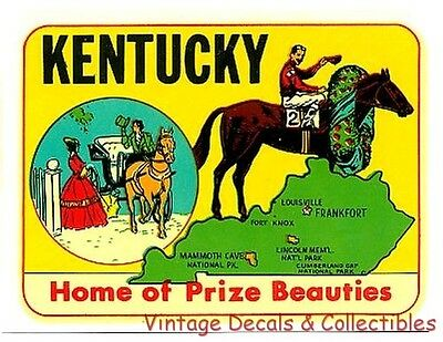 "Kentucky Derby State Horse ""prize Beauties"" Vintage Souvenir Travel Decal Water"