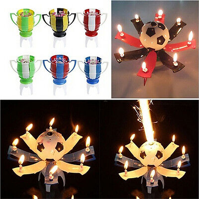 Amazing Romantic Musical Rotating Football Soccer Happy Birthday 8Candle Light h