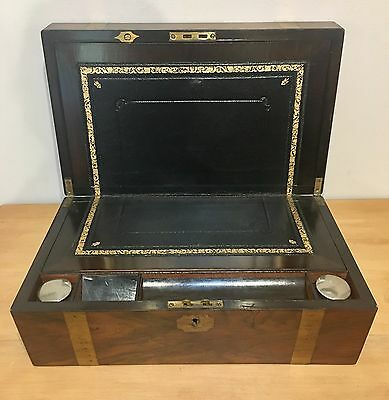 Antique Victorian Walnut Writing Slope Box Brass Bound with Leather & Inkwells