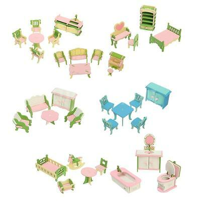 Wooden Dolls House Furniture Miniature Bathroom Set For Children Xmas Gifts UK