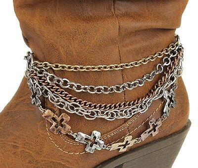 Tricolor Layered Chain Cross Charms Western Cowgirl Boot Strap Anklet Jewelry 1