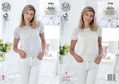 ac4b5e0221f411 King Cole 4786 Knitting Pattern Womens Tops in Giza Sorbet and Cotton 4 Ply