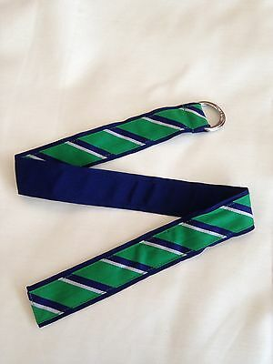 Brand New Ralph Lauren Navy Blue Green And White Striped Belt Fits Age 4-8