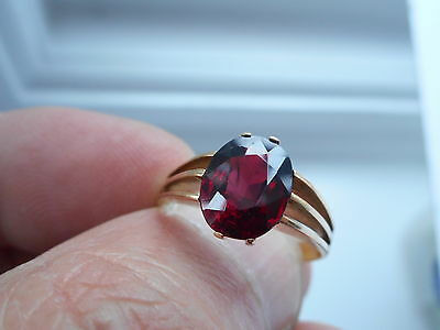 Terrific Looking Antique Edwardian Chester 1903 9Ct Gold & Garnet Ring