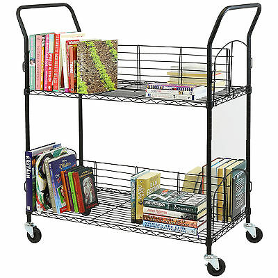 Hartleys Large 2 Tier Adjustable Book Trolley/cart Library/school Wire Bookcase