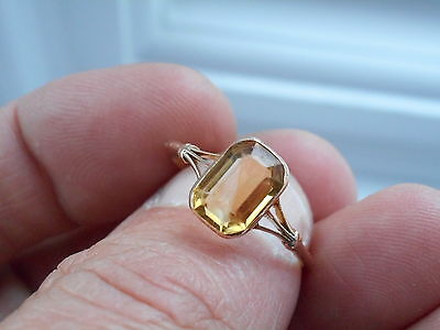 Great Looking Antique Victorian 18Ct Gold & Baguette Citrine Solitaire Ring