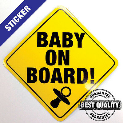 Baby On Board Sign -  YELLOW Sticker - Bumper Car and Window Decal - Outdoor